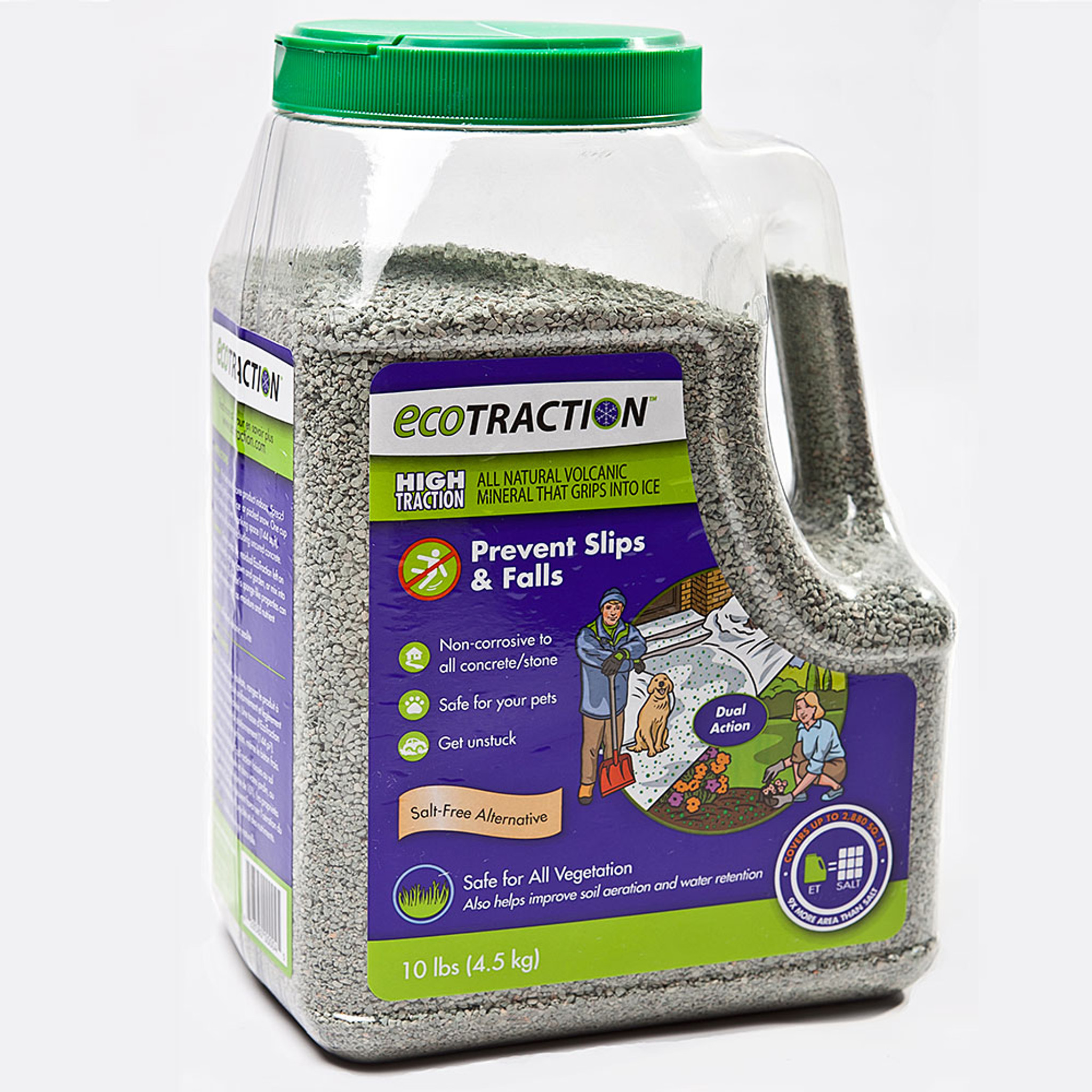 EcoTraction All Natural Volcanic Mineral Winter Traction (Pet and Kid Safe)  10 Lb  Jug