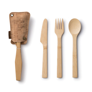 Bamboo Travel Utensil Set - Cork Fabric