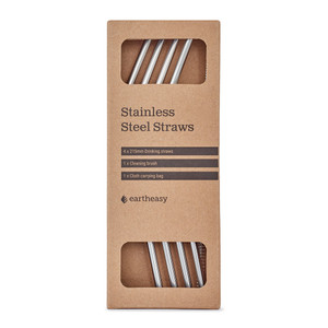 Curved stainless steel straws (4-pack) with cloth carrying bag and cleaning brush.