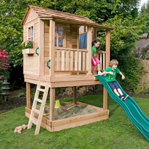 6' x 6' Elevated Little Cedar Playhouse & Sandbox