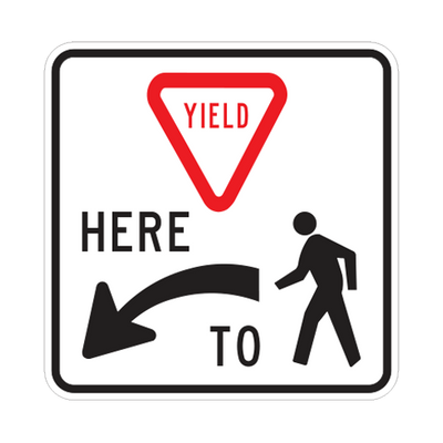 R1-5L  -  YIELD HERE TO PEDESTRIANS  -  36X36