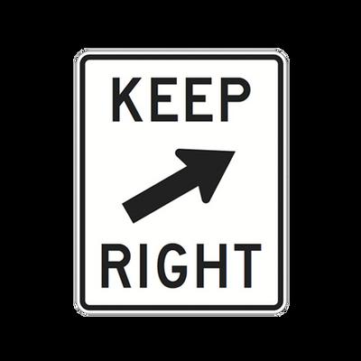 R4-7B  -  KEEP RIGHT W/30 DEGREE ARROW  -  24X30