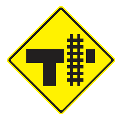 """W10-4/W10-4A - RAILROAD CROSSING ON STEM OF """"T"""" INTERSECTION - 36X36"""