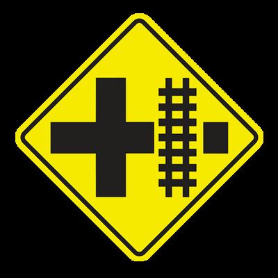 W10-2 - RAILROAD CROSSING AT CROSS ROAD - 36X36