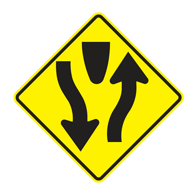 W6-1 - DIVIDED HIGHWAY-DIVIDED HIGHWAY ENDS - 36X36