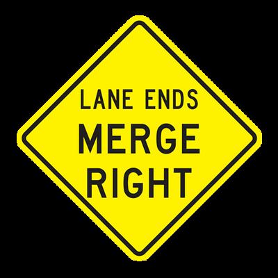 W9-2R - LANE ENDS MERGE RIGHT - 30X30