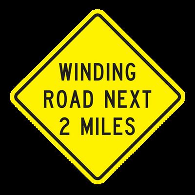 W1-5-1 - WINDING ROAD NEXT (--) MILES - 36X36