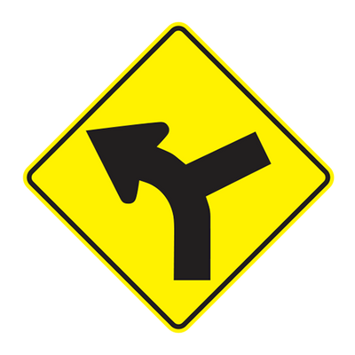 W1-10L - LEFT CURVE RIGHT SIDE ROAD - 36X36