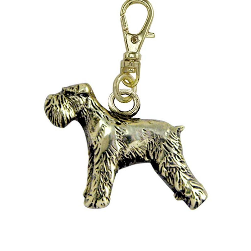 Schnauzer Flop Ear Brass Zipper Pull