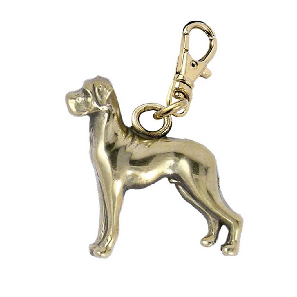 Great Dane Brass Zipper Pull Flop Ear