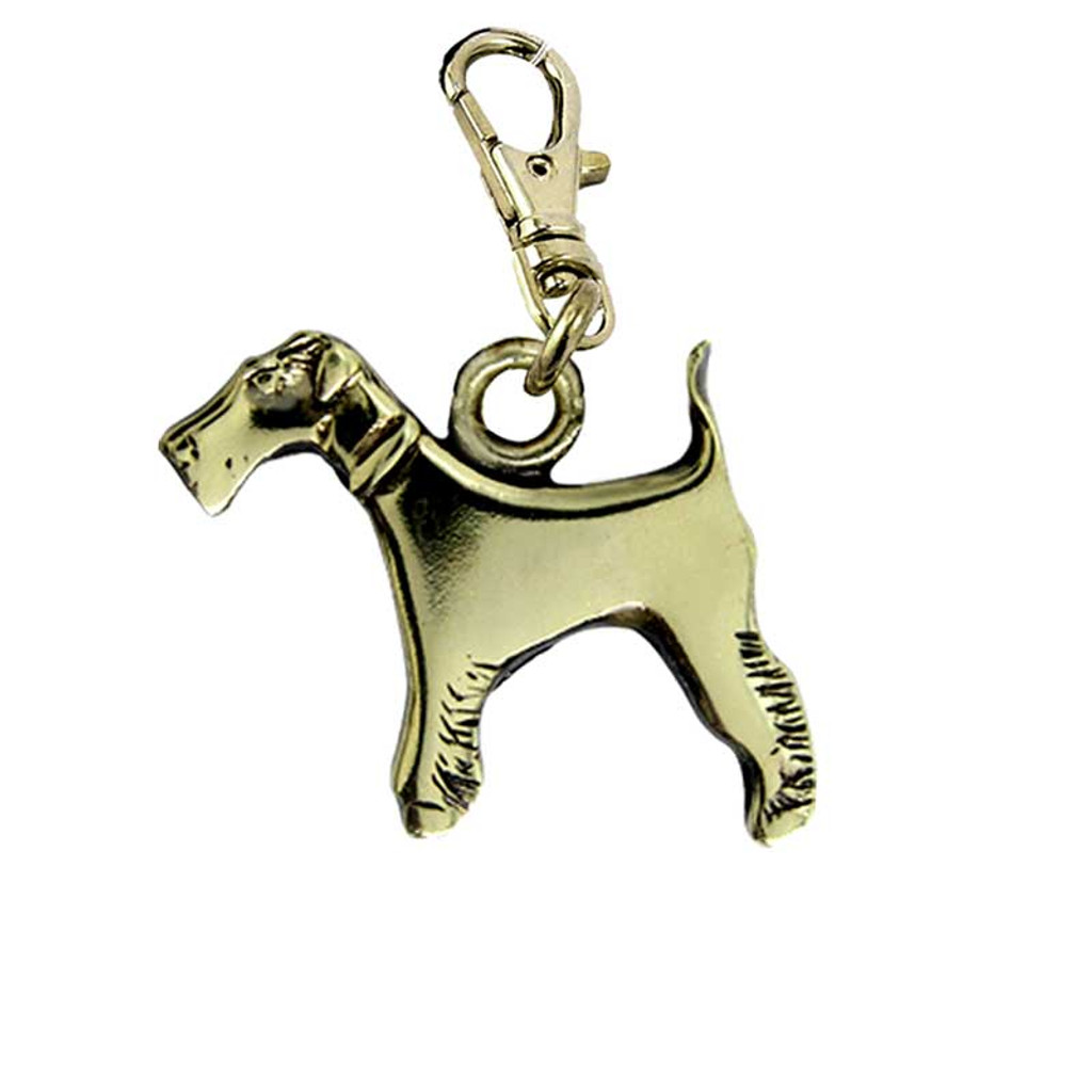 Wire Fox Terrier Brass Zipper Pull