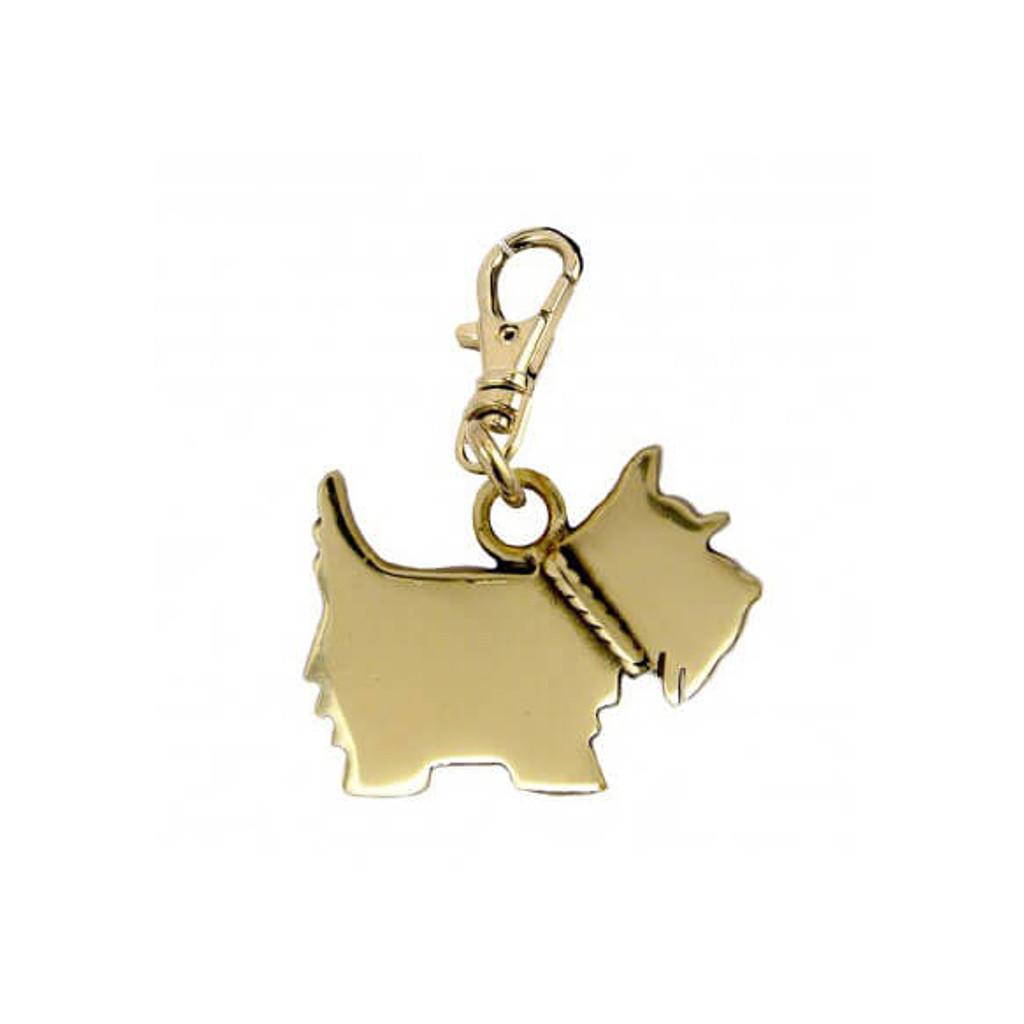 Scottie Logo Dog Brass Zipper Pull