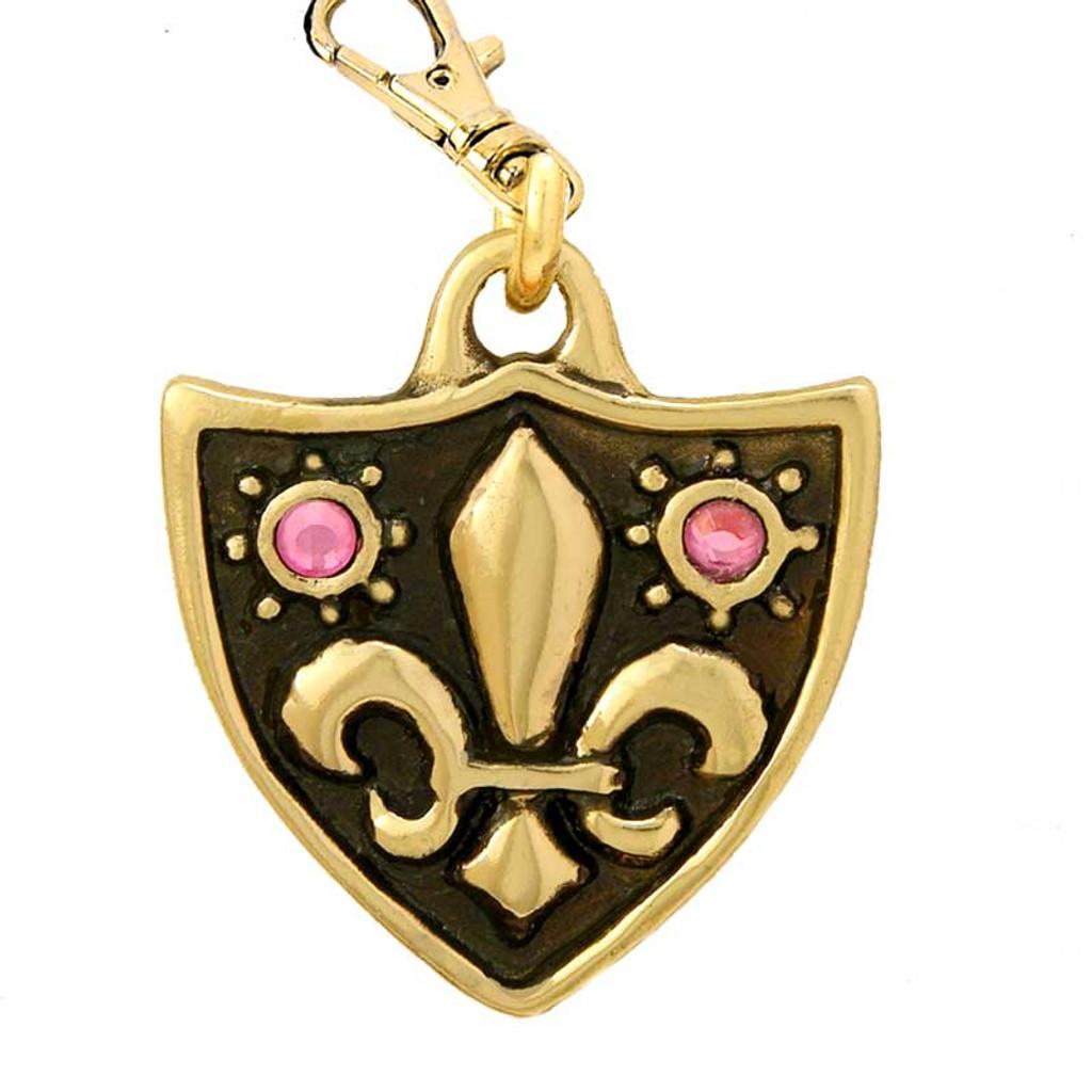 Fleur de Lys Dog Tag with 2 Rose Swarovski Crystals in Brass