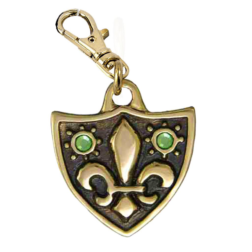Fleur de Lys Dog Tag with 2 Peridot Swarovski Crystals in Brass