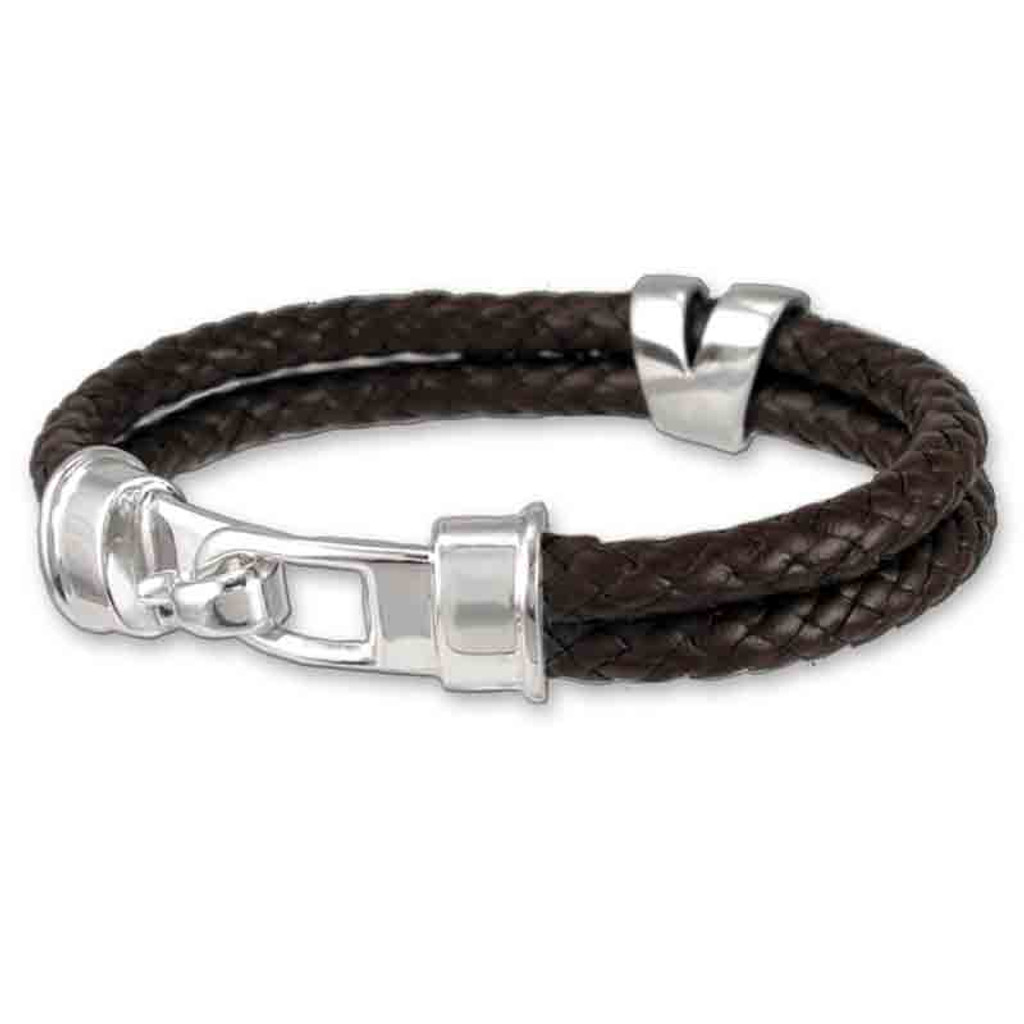 571dee0fa Hook Clasp Braided Leather Bracelet for men and women