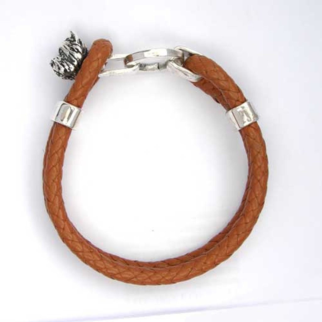 Cairn Terrier Leather Bracelet with Sterling Silver Toggle, Lisa Greene   FineARF
