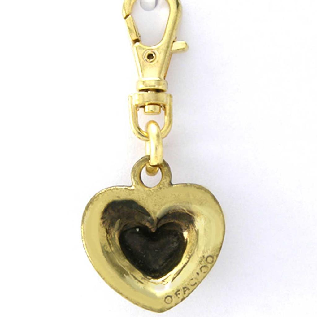 3 Tier Heart Charm Brass Zipper Pull - back