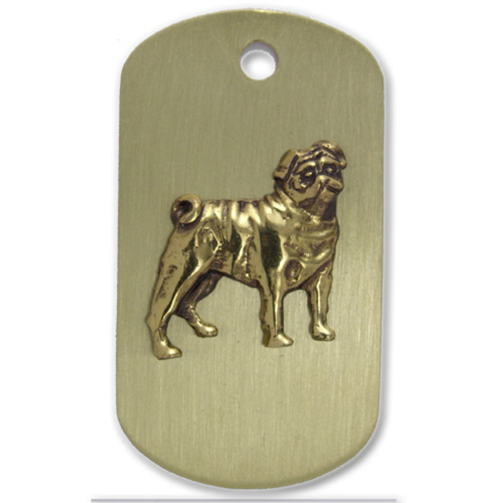 Brass ARF Tag with Pug - vertical