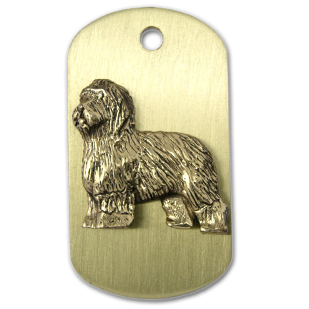 Brass ARF Tag with Old English Sheepdog - vertical