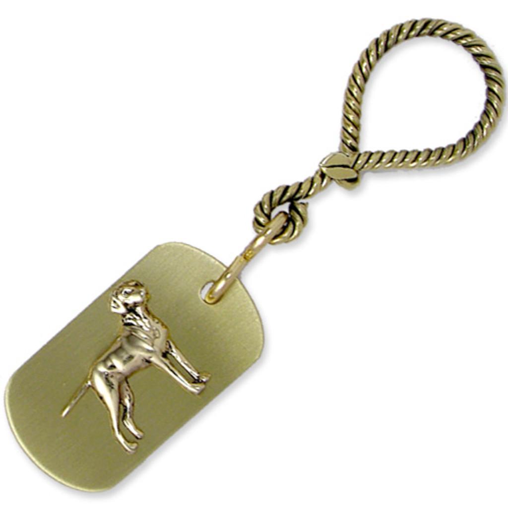 Brass ARF Tag with Vizsla on Twisted Nautical Keychain - horizontal