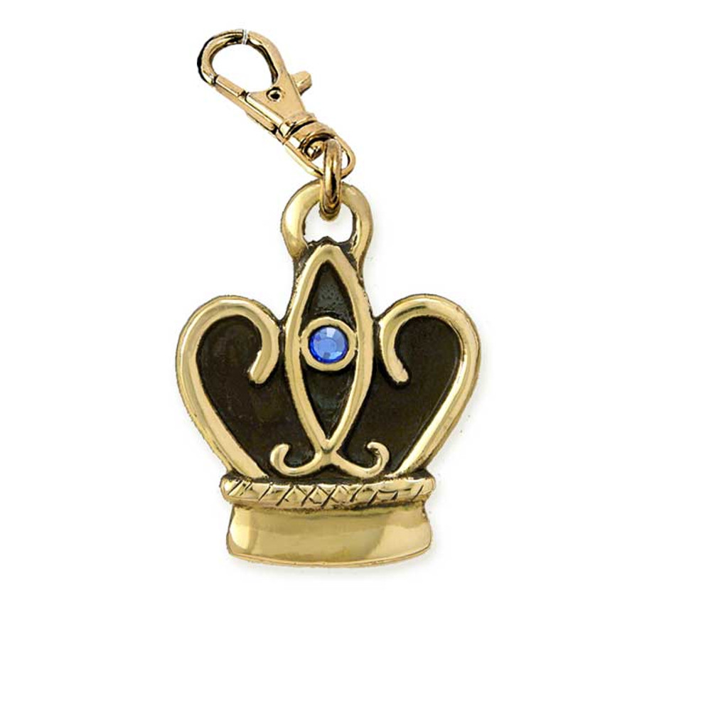 Crown ID Tag with Swarovski Crystal Brass