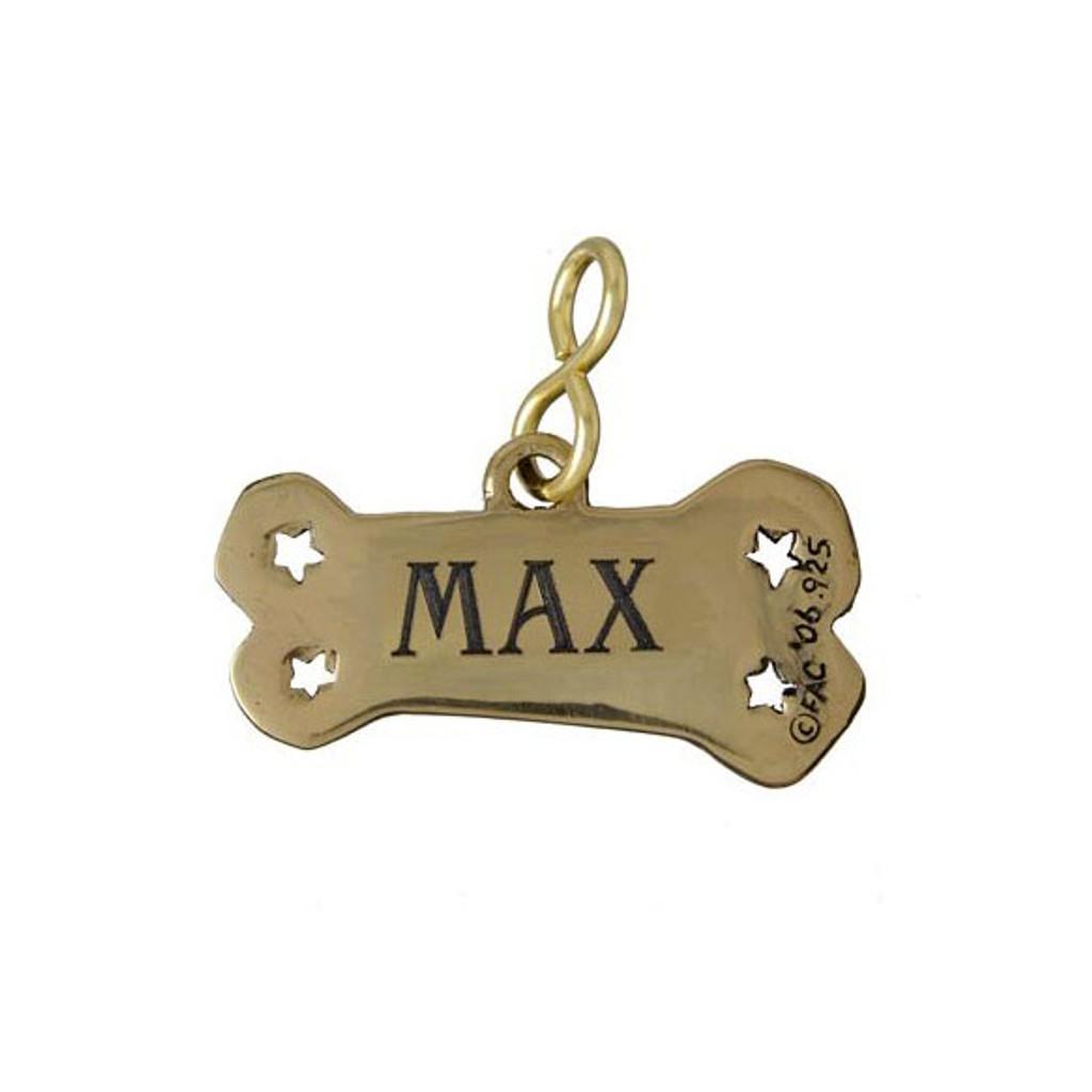 Good Dog Bone ID Tag in Brass - Back of Tag