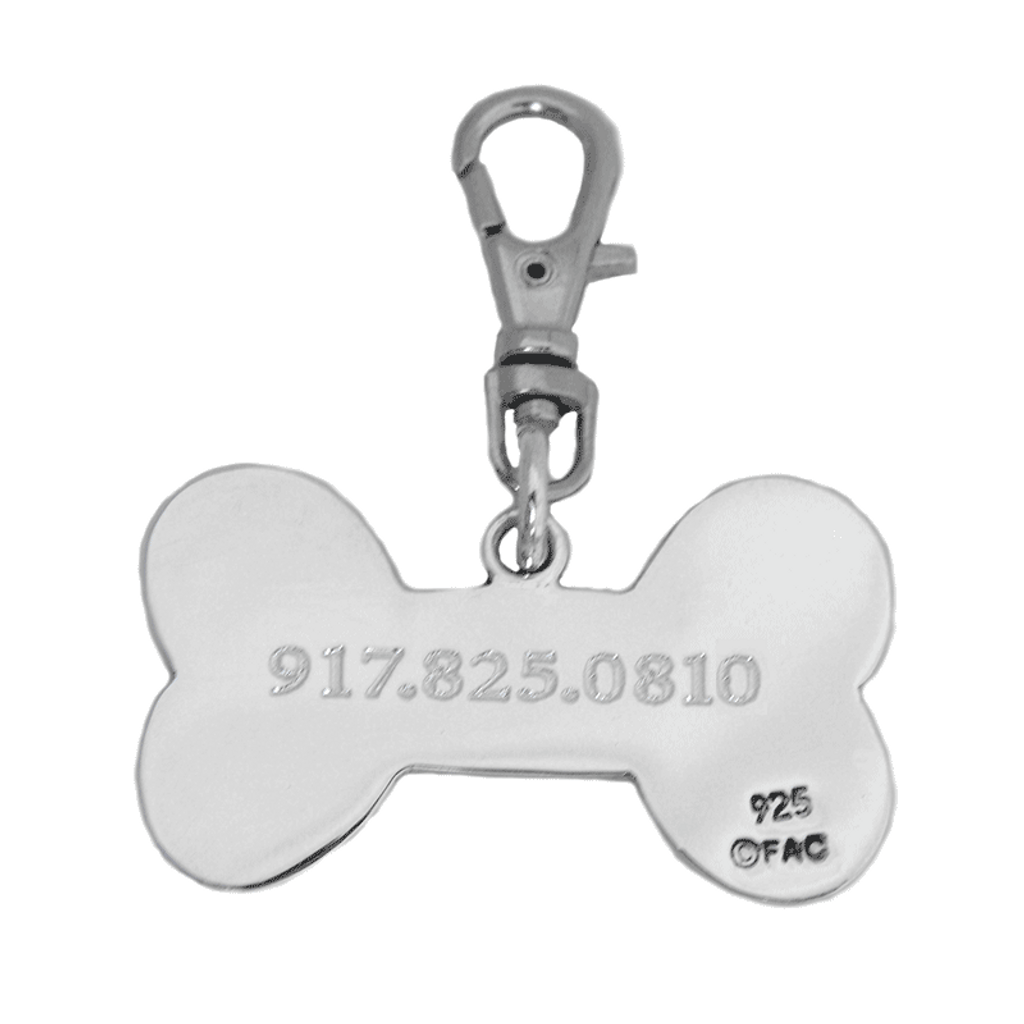 Sterling Silver Dog Bone ID Tag Back - engraved BACK