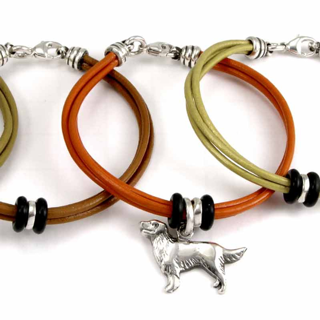 3 strand of colored leather, 2 silver beads and 4 rubber beads, FineARF claps  add a dog
