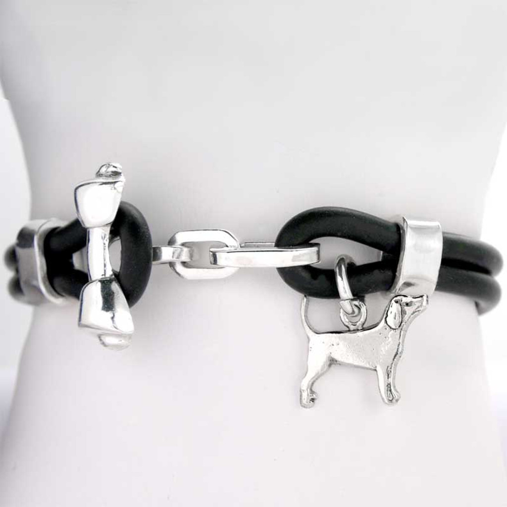 Rawhide Bone Toggle Rubber Bracelet