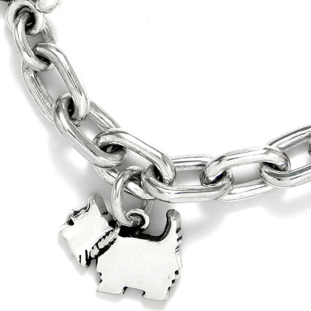 Sterling Silver small smooth link bracelet - handmade Small Charm shown here