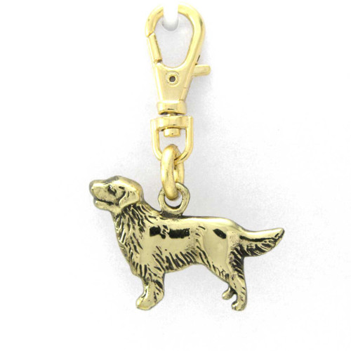 Golden Retriever with soft coat Zipper Pull in Brass