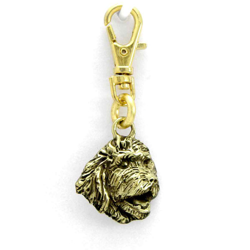 Goldendoodle Head Zipper Pull Brass