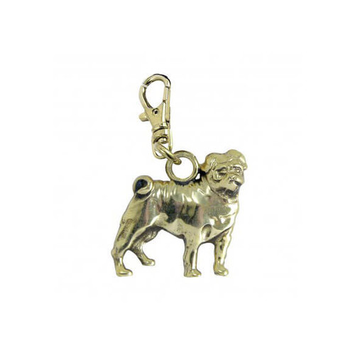 Pug Brass Zipper Pull