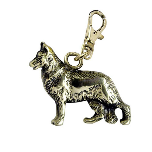 German Shepherd Brass Zipper Pull