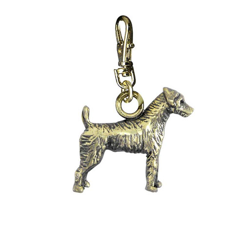 Jack Russell Brass Zipper Pull - Rough Coat