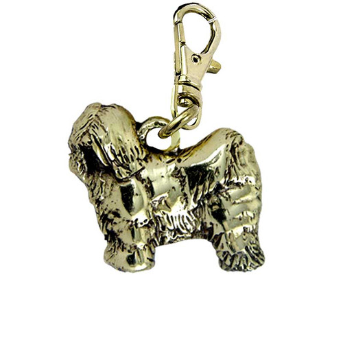 Tibetan Terrier Puppy Brass Zipper Pull
