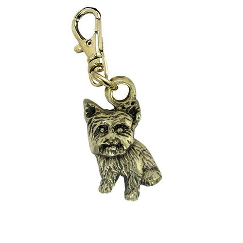 Yorkie Puppy Sitting Brass Zipper Pull
