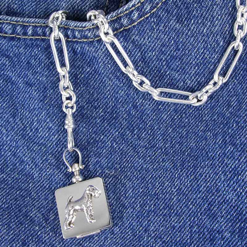 Watch Chain with Fob and Dog Locket - Lakeland Terrier