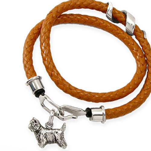 Braided Leather Wrap Bracelet with Medium Cairn Terrier Charm and added Silver Twirl