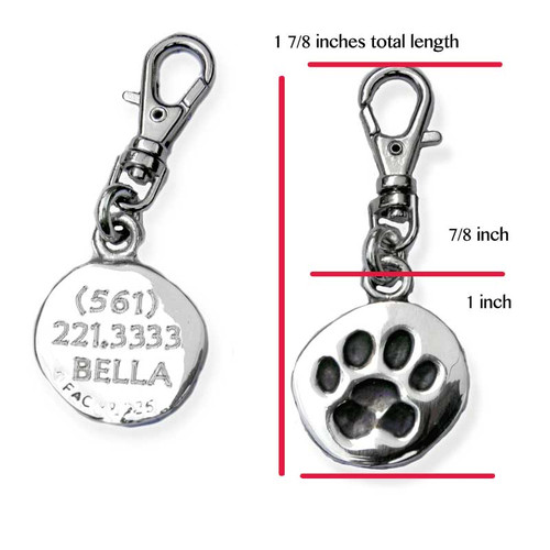 Paw Print Silver ID Tag engraving sample with clip and measurement