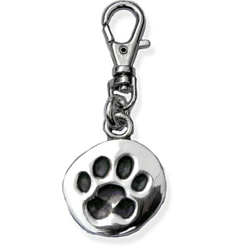 Paw Print Silver ID Tag Front