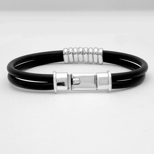 Box Clasp Banded Rubber Bracelet Mens