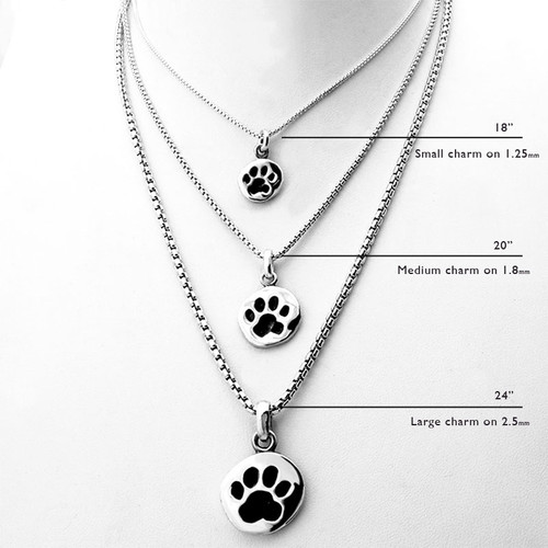 Paw Print Charm Necklace Large