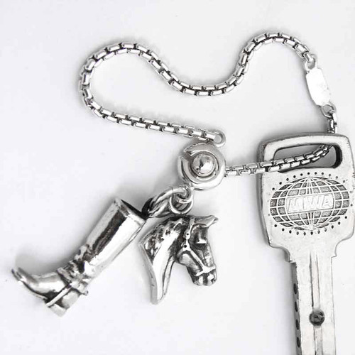 Silver Puzzle Key Ring with 2 horse charms. Made in USA