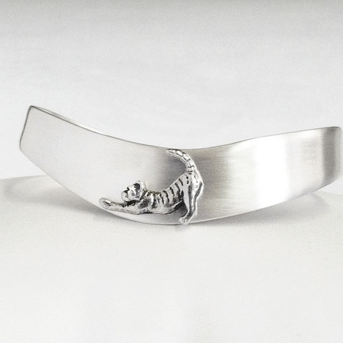 Wave Cuff Cat Bracelet, sterling silver