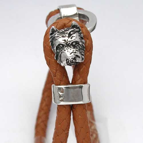 Cairn Terrier Leather Bracelet Sterling Silver Cairn Terrier Toggle Detail, Lisa Greene | FineARF