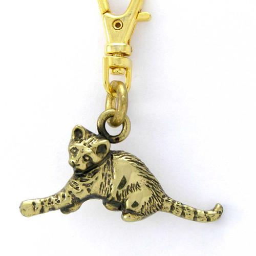 Kitten Zipper Pull Brass