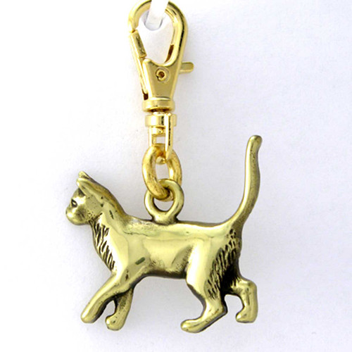Siamese Cat Brass Zipper Pull Charm