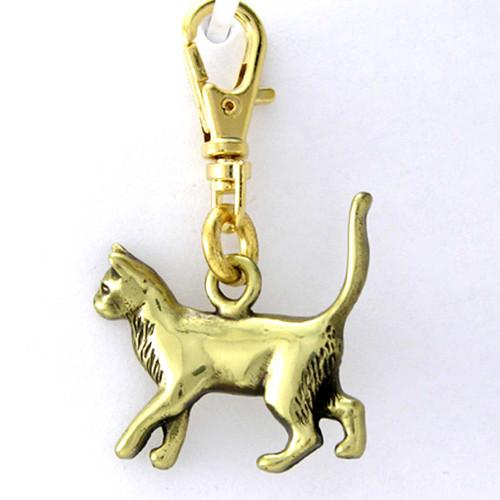 Siamese Cat Brass Zipper Pull Charm