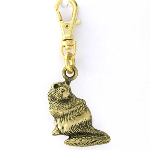 Brass Persian Cat Zipper Pull Charm